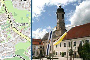 Ortsplan von Weyarn und Rathausplatzansicht